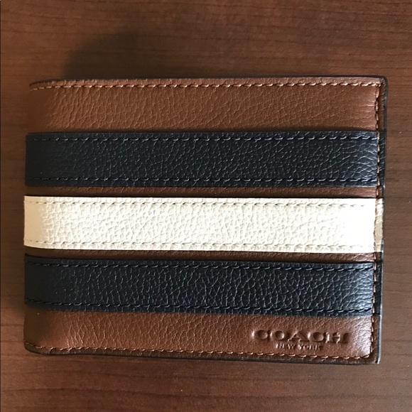 6ed3acef2f NWT Coach Mens stripe Varsity Slim Billfold wallet NWT